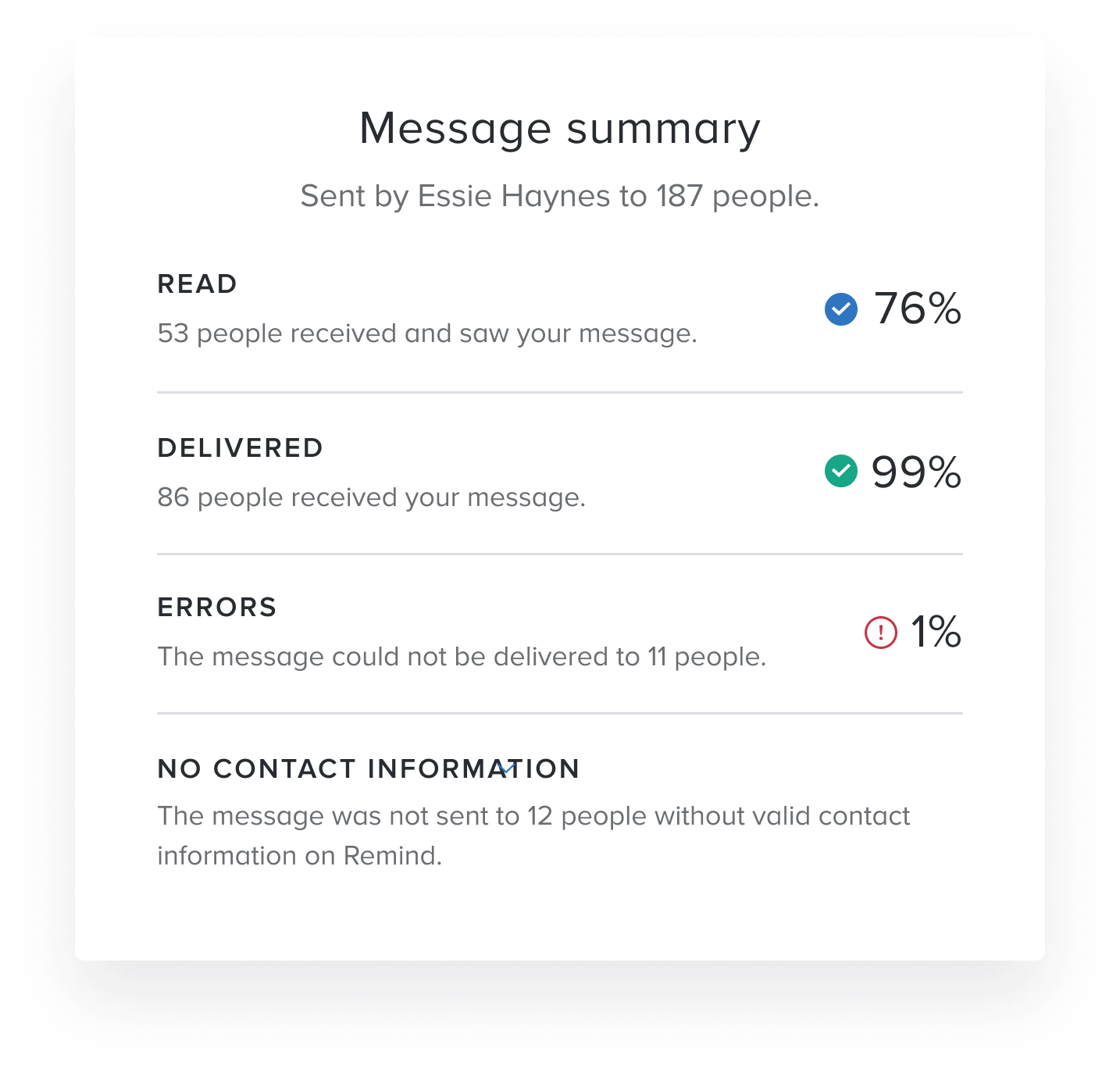 See your message delivery summary – Help Center